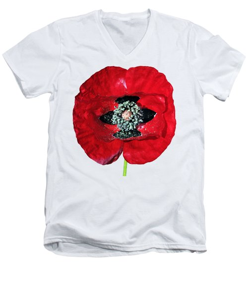 Men's V-Neck T-Shirt featuring the photograph Poppy Flower by George Atsametakis
