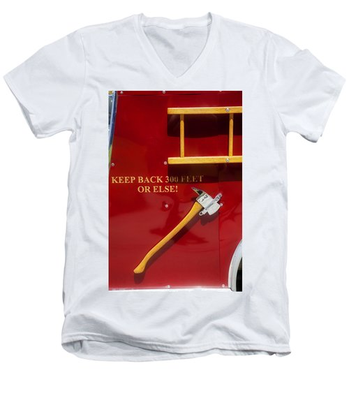 Fire Truck Caution Men's V-Neck T-Shirt by Toni Hopper