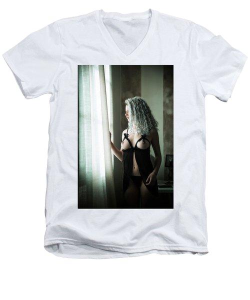 Tu M'as Promis Men's V-Neck T-Shirt by Traven Milovich