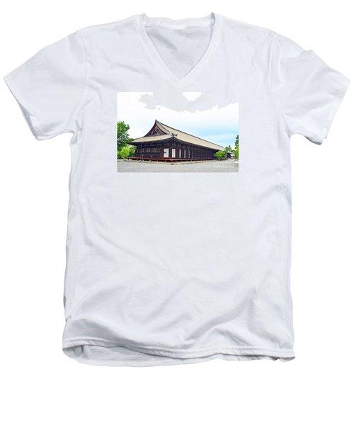 Men's V-Neck T-Shirt featuring the digital art 33 Sanjusangendo 2 by Eva Kaufman