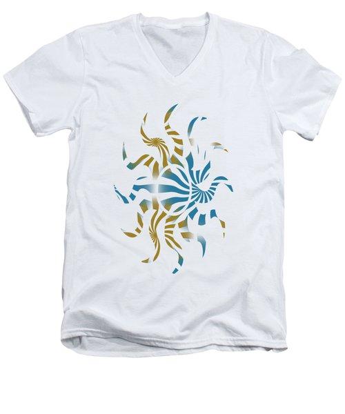 3d Spiral Pattern Men's V-Neck T-Shirt