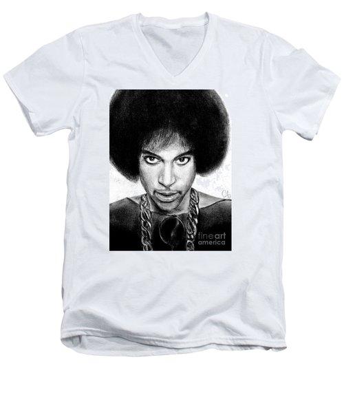 3rd Eye Girl - Prince Charcoal Portrait Drawing - Ai P Nilson Men's V-Neck T-Shirt