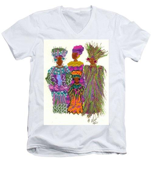 Men's V-Neck T-Shirt featuring the mixed media 3rd Generation - We Women Folk by Angela L Walker