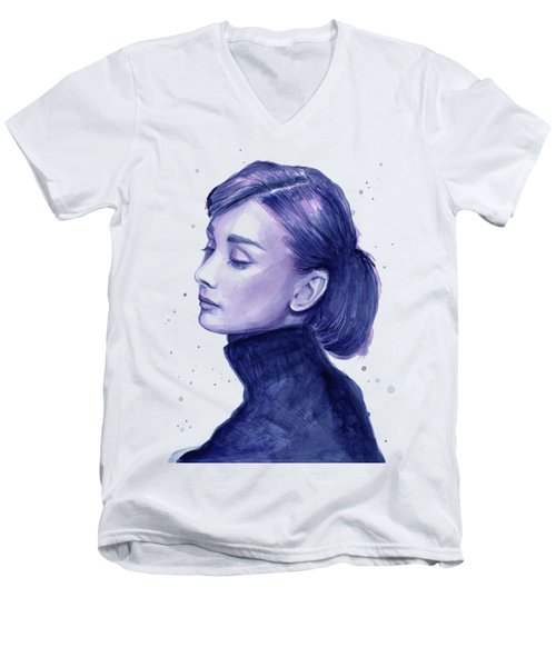 Audrey Hepburn Portrait Men's V-Neck T-Shirt