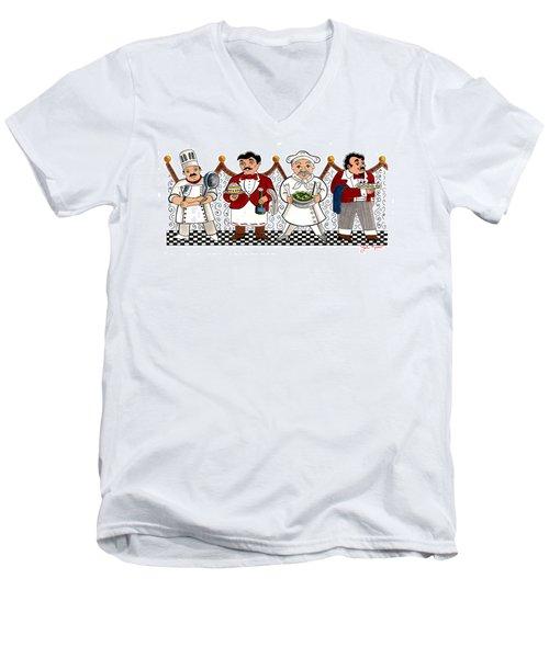 4 Chefs Men's V-Neck T-Shirt by John Keaton