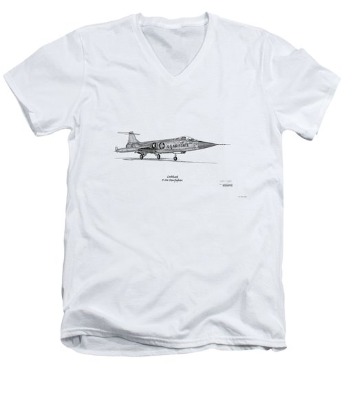 Lockheed F-104 Starfighter Men's V-Neck T-Shirt by Arthur Eggers