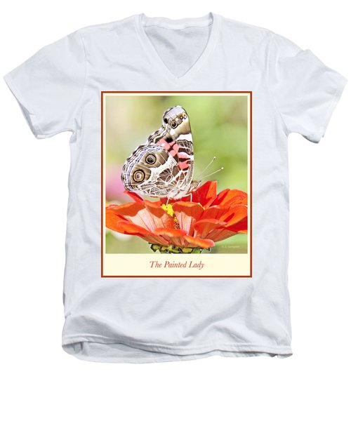 Painted Lady Butterfly On Zinnia Flower Men's V-Neck T-Shirt by A Gurmankin