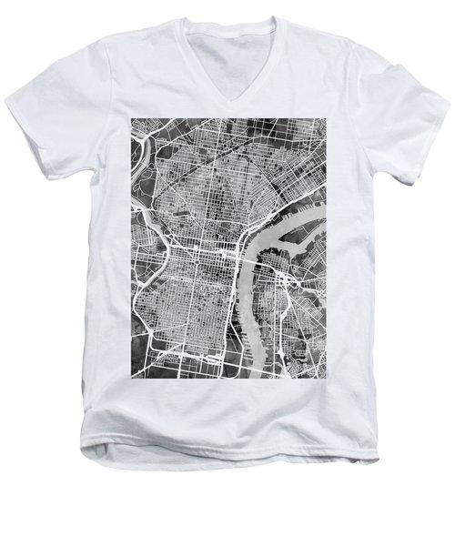 Philadelphia Pennsylvania Street Map Men's V-Neck T-Shirt