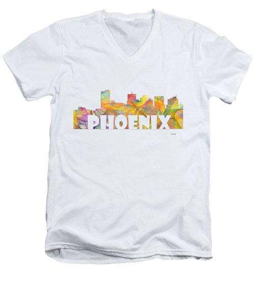 Phoenix Arizona Skyline Men's V-Neck T-Shirt by Marlene Watson
