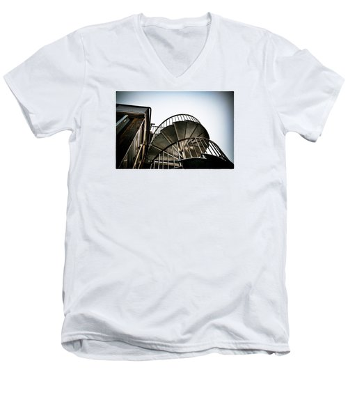 Pop Brixton - Spiral Staircase - Industrial Style Men's V-Neck T-Shirt by Lenny Carter
