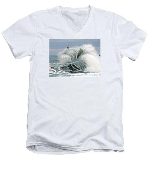 Men's V-Neck T-Shirt featuring the photograph Roker Pier Sunderland by Morag Bates
