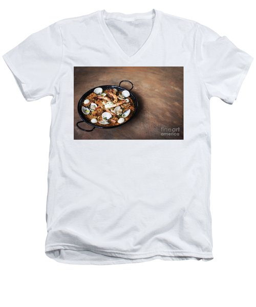 Seafood And Rice Paella Traditional Spanish Food Men's V-Neck T-Shirt