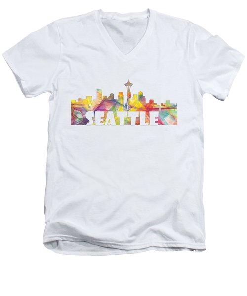 Seattle Washington Skyline Men's V-Neck T-Shirt by Marlene Watson