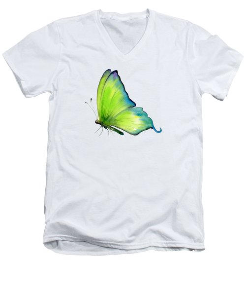 4 Skip Green Butterfly Men's V-Neck T-Shirt
