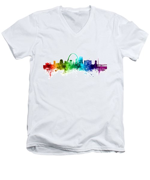 St Louis Missouri Skyline Men's V-Neck T-Shirt