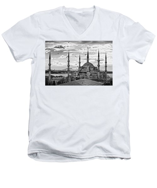 The Blue Mosque - Istanbul Men's V-Neck T-Shirt by Luciano Mortula