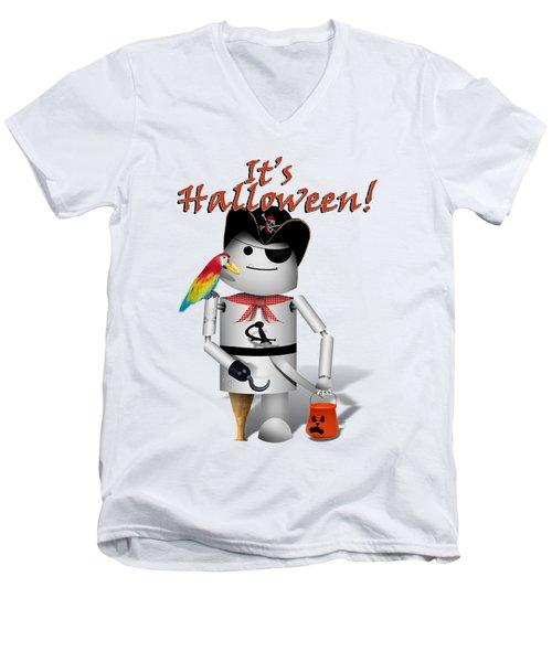 Trick Or Treat Time For Robo-x9 Men's V-Neck T-Shirt