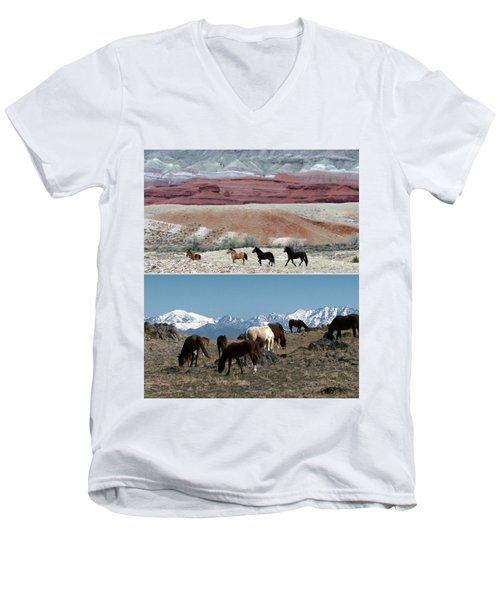 Twin Photos Awesome North American Mustangs Horses Cowboys Photography See On Posters Pillows Curtai Men's V-Neck T-Shirt