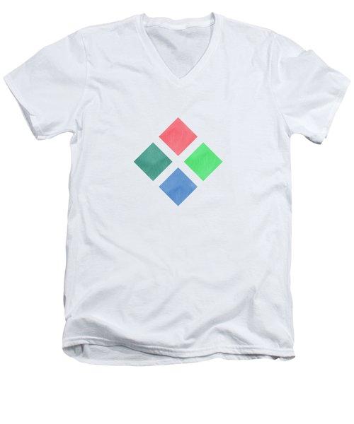 Watercolor Geometric Background Men's V-Neck T-Shirt