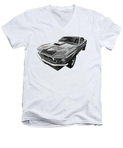 428 Cobra Jet Mach1 Ford Mustang 1969 In Black And White Men's V-Neck T-Shirt