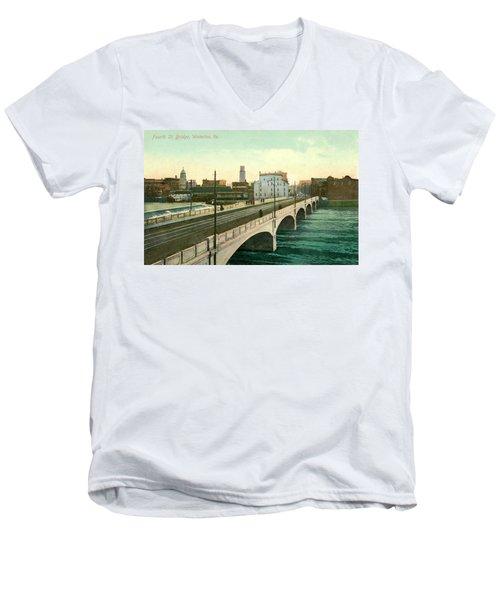 4th Street Bridge Waterloo Iowa Men's V-Neck T-Shirt