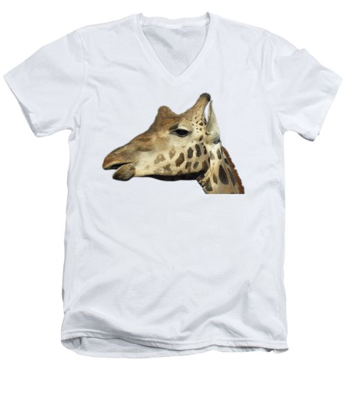 Men's V-Neck T-Shirt featuring the photograph Baringo Giraffe by George Atsametakis