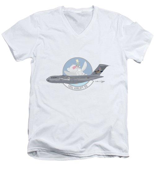 Men's V-Neck T-Shirt featuring the digital art Boeing C-17 Globemaster IIi by Arthur Eggers