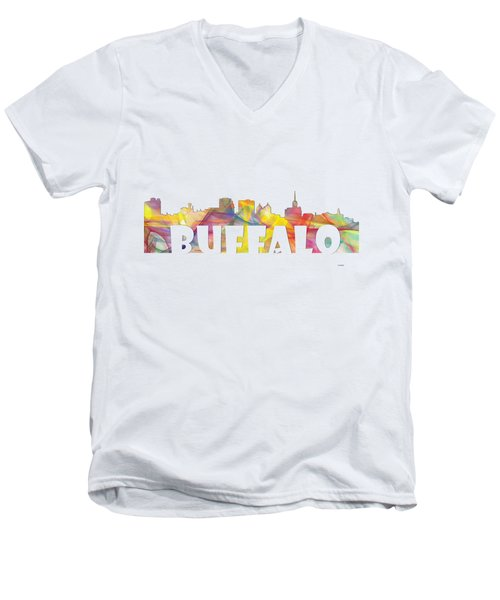 Buffalo New York Skyline Men's V-Neck T-Shirt