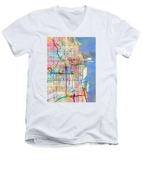 Chicago City Street Map Men's V-Neck T-Shirt by Michael Tompsett