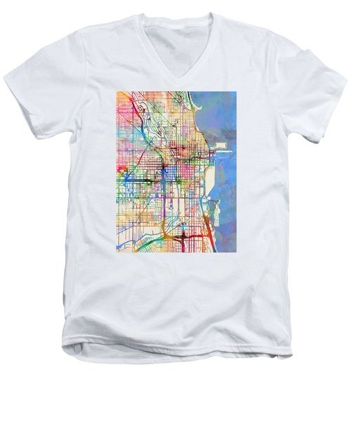 Chicago City Street Map Men's V-Neck T-Shirt