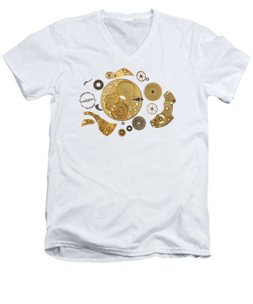 Men's V-Neck T-Shirt featuring the photograph Clockwork Mechanism by Michal Boubin