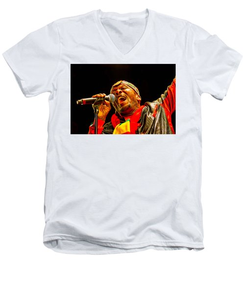 Jimmy Cliff Collection Men's V-Neck T-Shirt by Marvin Blaine