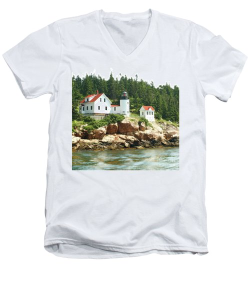 Lighthouse Men's V-Neck T-Shirt by Raymond Earley