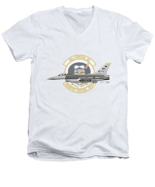Lockheed Martin F-16c Viper Men's V-Neck T-Shirt by Arthur Eggers