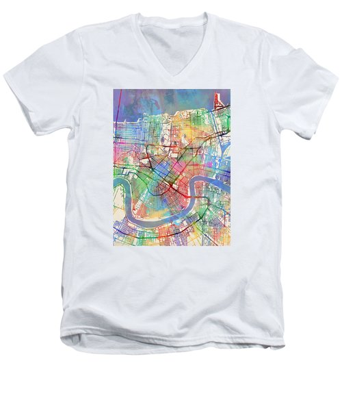 New Orleans Street Map Men's V-Neck T-Shirt