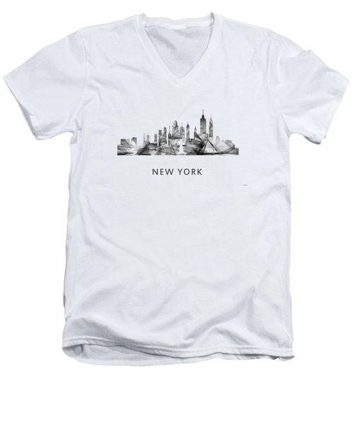 New York New York Skyline Men's V-Neck T-Shirt by Marlene Watson