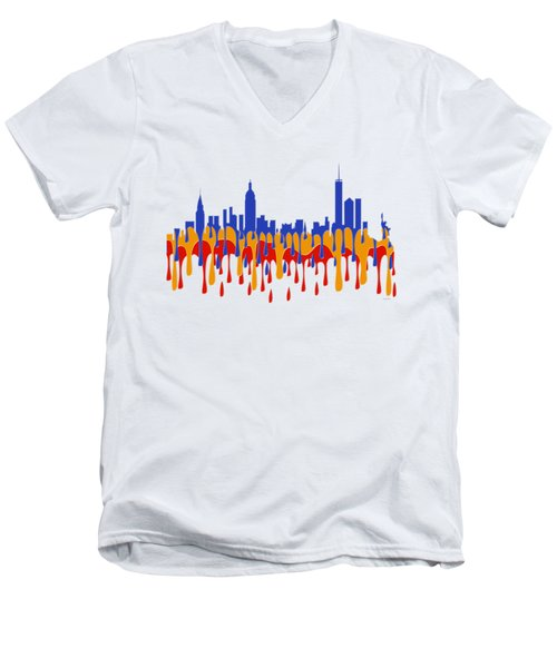 New York Ny Skyline Men's V-Neck T-Shirt by Marlene Watson