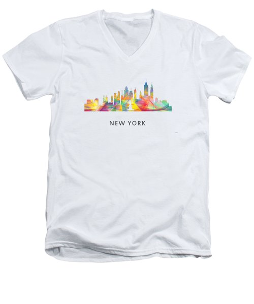 New York Skyline Men's V-Neck T-Shirt by Marlene Watson