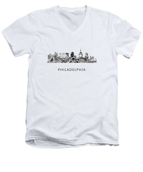 Philadelphia Pennsylvania Skyline Men's V-Neck T-Shirt by Marlene Watson