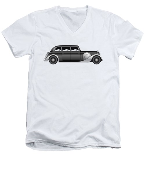 Men's V-Neck T-Shirt featuring the digital art Sedan - Vintage Model Of Car by Michal Boubin