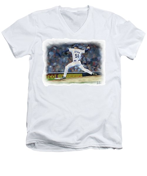 Men's V-Neck T-Shirt featuring the photograph Trevor Hoffman by Don Olea