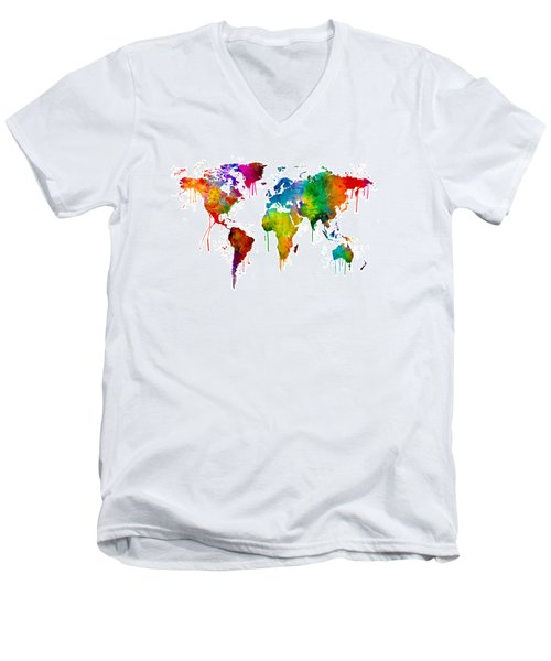 Watercolor Map Of The World Map Men's V-Neck T-Shirt