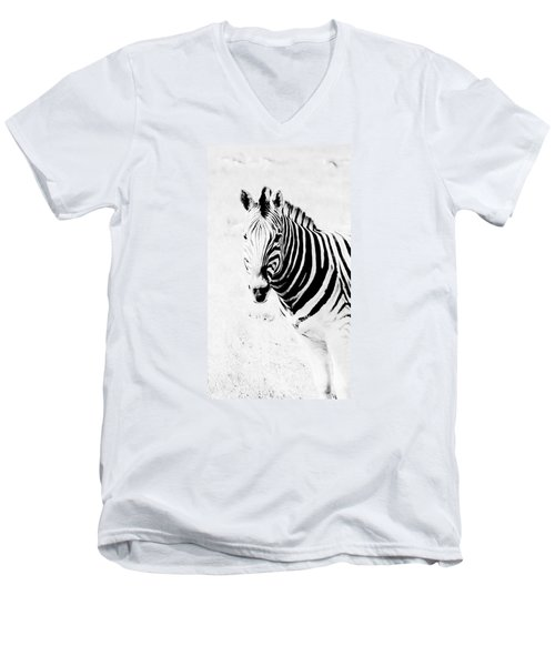 Men's V-Neck T-Shirt featuring the photograph Zebra Art by Werner Lehmann