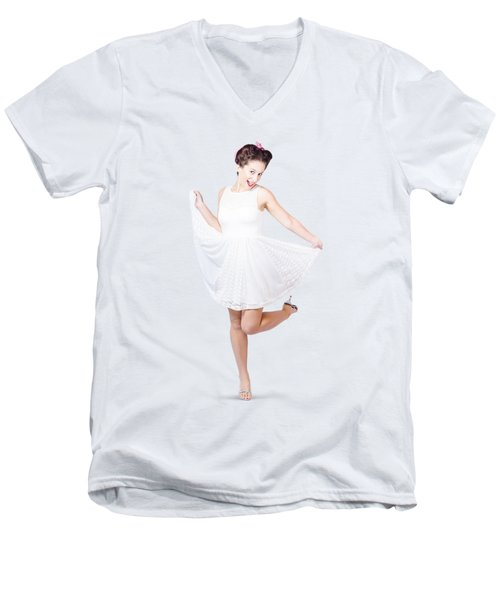 50s Pinup Woman In White Dress Dancing Men's V-Neck T-Shirt by Jorgo Photography - Wall Art Gallery