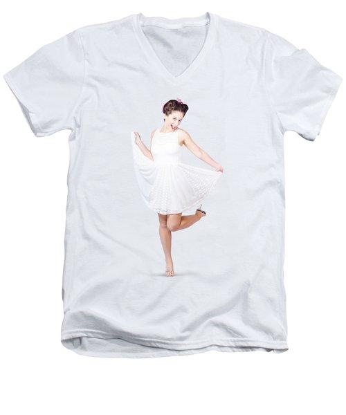50s Pinup Woman In White Dress Dancing Men's V-Neck T-Shirt