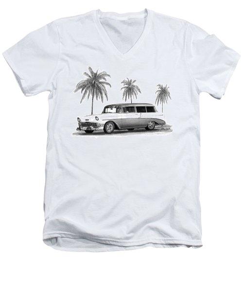 56 Chevy Wagon Men's V-Neck T-Shirt