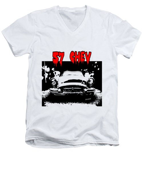 Men's V-Neck T-Shirt featuring the digital art 57 Chev by Kim Gauge