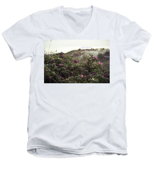 Rose Bush And Dunes Men's V-Neck T-Shirt