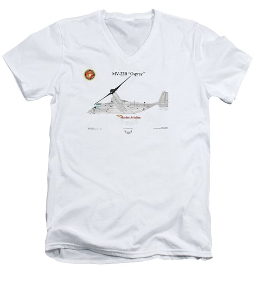 Bell Boeing Mv-22b Osprey Men's V-Neck T-Shirt by Arthur Eggers