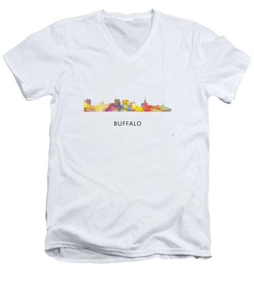 Buffalo New York Skyline Men's V-Neck T-Shirt by Marlene Watson